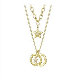 Jewelry - 14k gold plated diamond layered necklace